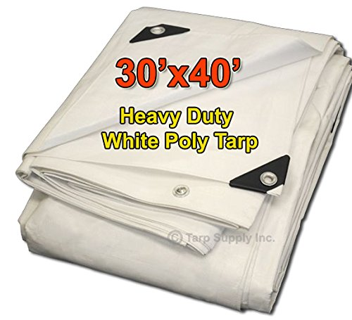 Tarpsupply 30'x40' Heavy Duty 12 by 12 Cross Weave 8-10 Mil White Poly Tarp with Grommets Approx Every 18 Inches All Around, Corner Solid Plastic Bar Reinforcement for Extra Strength