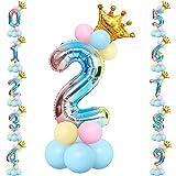 Unisun - Juego globos papel aluminio 32 pulgadas, torre globos helio número 2 con gradiente arcoíris con corona y 12 globos látex para decoraciones aniversario fiesta de cumpleaños princesa Príncipe