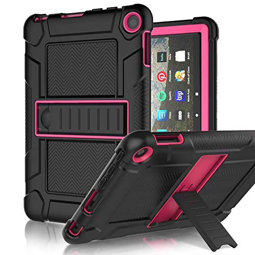 LEDNICEKER Case for All-New Fire HD 8, Fire HD 8 Plus 2020 - Slim Heavy Duty Shockproof Rugged Full-Body Drop Protection Case for Amazon Fire HD 8 Tablets (Gen 10th,2020 Release), Black and Rose