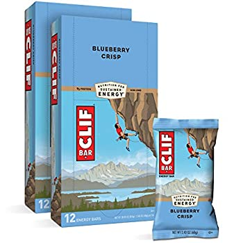 CLIF BARS - Energy Bars - Blueberry Crisp - Made with Organic Oats - Plant Based Food - Vegetarian - Kosher  2.4 Ounce Protein Bars 24 Count