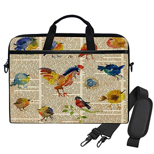 Emoya Laptopn Bag Watercolors Vintage Birds Messenger Laptop Shoulder Bag Compatible 13.3-14 Inch Computer