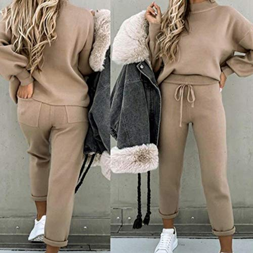 Trainingsanzug Damen Wolle Pullover Set Pullover Kordelzug Hosen Set Damen Herbst Sportswear-Khaki_M.