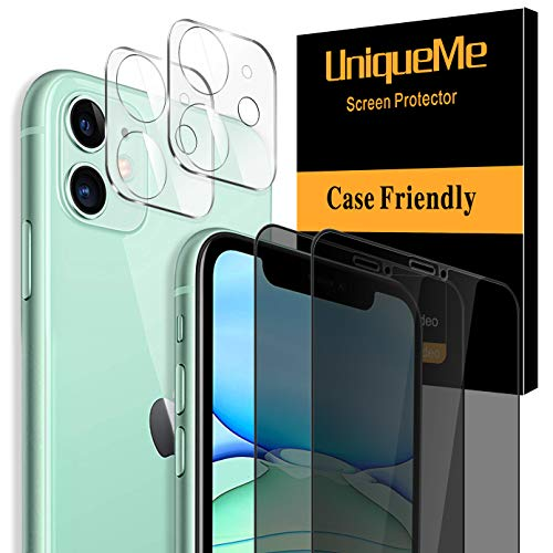 [4 Pack] UniqueMe 2 Pack Tempered Glass Privacy Screen Protector +2 Pack Tempered Glass Camera Lens Protector 9H Hardness for iPhone 11(6.1 inch)