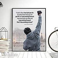 キャンバス絵画ロッキーバルボアボクシングポスター動機付けの引用プリント壁アート写真オフィスリビングルーム家の装飾-50x70cmフレームなし