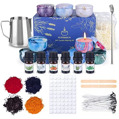 Kit de Fabricación de Velas Aromáticas: 480 g de Cera de Abejas, 100 Mechas, 6 Aceites Aromáticos, 4 Tintes de Color, 100 Pegatinas de Velas, Jarra de 500 Ml, 9 Latas de Vacías