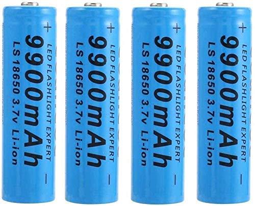 18650 Baterías de Litio Recargables Batería Inteligente Baterías duraderas precargadas útiles 9900mAh 3.7V para Linterna LED Linterna Frontal Azul Antorcha (Paquete de 4)