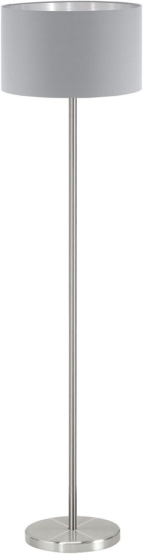 EGLO MASERLO Stehleuchte, Stahl, E27, Nickel-matt grau silber, 38 x 38 x 151 cm