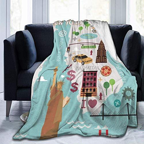 Shichangwei Flannel Blanket Super Soft Flannel Blanket Comfort Cozy Throw Blanket Lightweight Blanket, Map of New York City