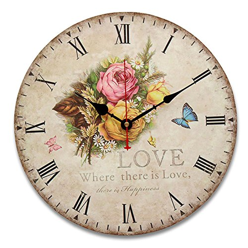 Inovey 34Cm Vintage Wall Horloges Antique Saveur Cuisine Rétro Style Shabby Chic Home Cafe Decor - #1