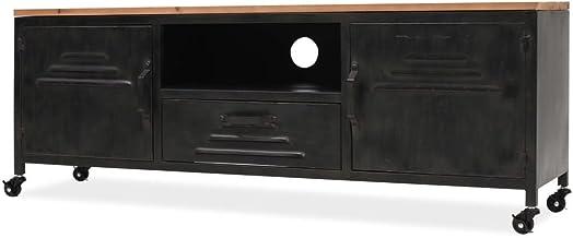 yorten Mueble para la Televisión Equipo de HiFi TV 120x30x43 cm Acero Galvanizado y Superficie de Madera de Abeto Maciza Negro