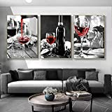 TBDY 3 piezas románticas con diseño de vino, impresión artística de fruta, uvas sobre lienzo para pared de salón o dormitorio (40 x 50 cm x 3)