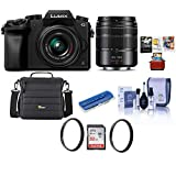 Panasonic Lumix DMC-G7 Mirrorless Camera with Lumix G Vario 14-42mm and 45-150mm Lenses Lens, Black - Bundle with Camera Case, 32GB SDHC Card, 46mm/52mm UV Filters, Mac Software Pack and More
