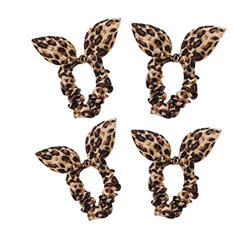 Oreilles de lapin mignon élastique de cheveux Cravates, 10 comte, Leopard