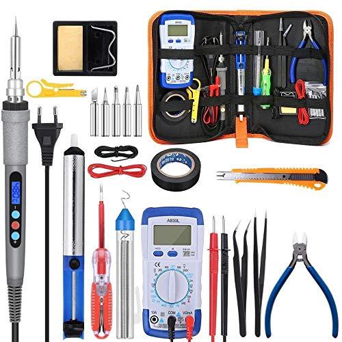 Lötkolben Kit 110V / 220V 60W / 90W elektrische Lötkolben Kit Multimeter Temperatur Desoldeirng Pump Schweißwerkzeug mit 5pcs (Color : 90W kit, Plug Type : US)