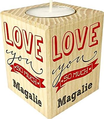 Bougie personnaliséeLove You So Much– Porte Bougie en Bois personnalisé avec Le prénom – Cadeau pour la Saint Valentin - Homme ou Femme - Cadeau Romantique pour Un Couple