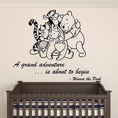 Baby kamer nachtkastje muur stickers Winnie de Poeh baby kamer muur Stickers Home kamer muur Stickers 58x72cm Zwart