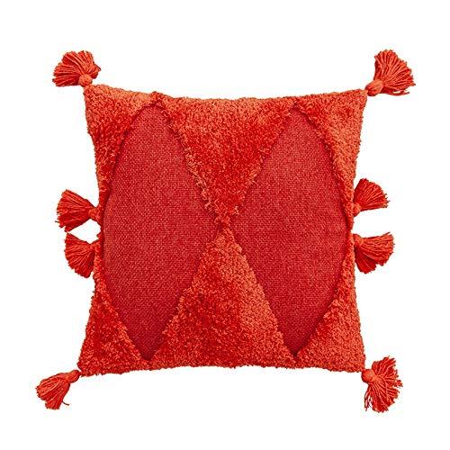 WE-WHLL Marruecos Minimalista Funda de Almohada de Color sólido Triángulo geométrico Borla copetuda Hecha a Mano Funda de cojín Decorativa para el hogar Sofá Sofá-Rojo