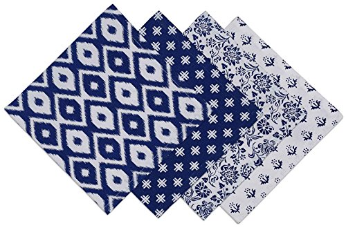 DII COSD35138 100% Cotton Cloth, Dinner Napkins, for Basic Everyday Use, Banquets, Weddings, Events, or Family Gatherings, Indigo Prints