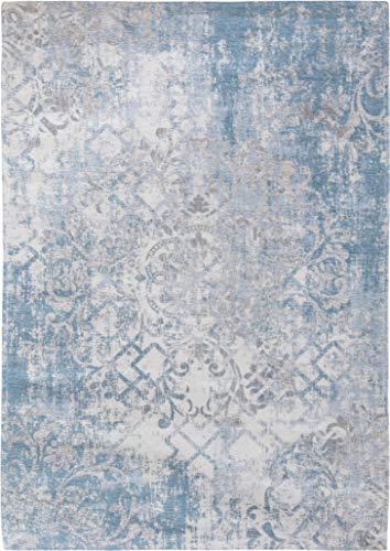 Louis de Poortere Teppiche Fading World Babylon 8545 Alhambra Hellblau Antik-Look Used-Look Persischer Vintage Heriz 280x360cm (9'2x11'10) blau