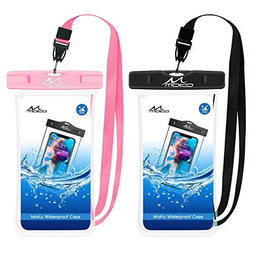 MoKo Bolsa Impermeable para Teléfono de 6.5', [2 PZS] Estancas Flotante Funda Universal con Correa para iPhone 12/iPhone 12 Mini/iPhone 12 Pro/iPhone 11/11 pro/11 Pro MAX//Samsung S21 - Negro + Rosa