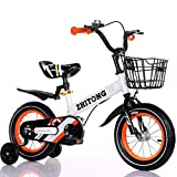 FORIDE Bicicleta infantil de 12/14/16/18 pulgadas para niños y niñas, bicicleta para niños con ruedas de entrenamiento y cesta para deportes al aire libre ciclismo (blanco nuevo, 16 pulgadas)