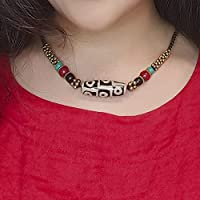 NMKAS Achat Dzi Perlen gewebte Halskette im ethnischen Stil, eine perfekte Kombination aus Retro und Mode, handgefertigt aus Natursteinmaterialien