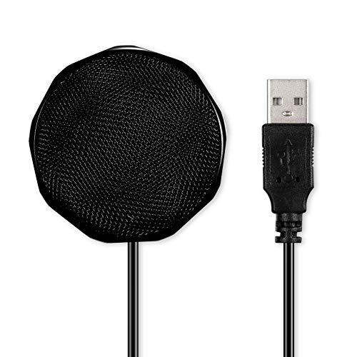 Fesjoy Micrófono de condensador USB para ordenador de sobremesa omnidireccional Micrófono de 360 ° Grabación de sonido Compatible con conversación de voz en conferencias
