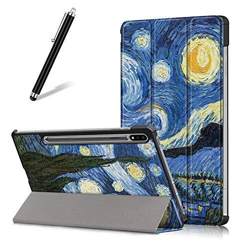 Preisvergleich Produktbild Artfeel Hülle für Samsung Galaxy Tab S7 11 Zoll 2020 T870 / T875, Ultra Dünn Leicht Leder Smart Klapphülle Dreifach Ständer Schutzhülle Auto Wach / Schlaf Flip Magnetisch Abdeckung, Sternenhimmel
