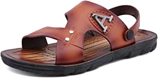 Bin Zhang Men's Fashion Sandals Casual Comfortable Soft Light Rust Logo Decoration Slippers (Color : Brown, Size : 6 UK)