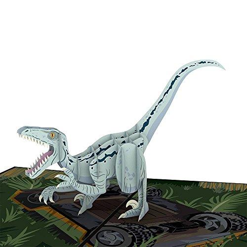 Lovepop Jurassic World Raptor Blue Pop Up Card, Dinosaur Birthday Card, 3D Card, Greeting Card, Pop Up Birthday Card, Dinosaur Cards