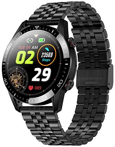 Smartwatch Herren Android IOS Pulsuhr Uhr mit Blutdruckmessung Laufuhr Sport Schrittzähler Kalorienzähler Wasserdicht Touchscreen Bluetooth Fitness Armband