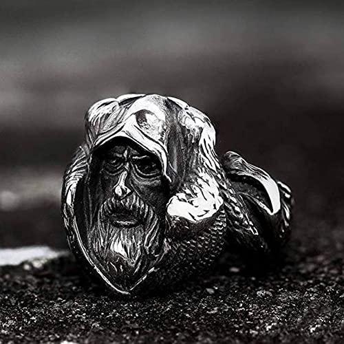 WYPAN Anillos de Plata Cuervo Odin MitologíA NóRdica, Anillo Acero Inoxidable Vintage Vikingo para Hombre, JoyeríA Amuleto Escandinavo con Bolsa Regalo Runas Valknut,8