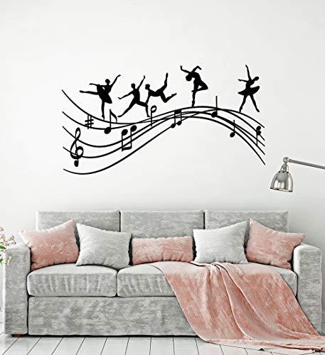 Tianpengyuanshuai Kreative Balletttänzerin Musiknote Silhouette Wandtattoo Vinyl Aufkleber 68X37cm
