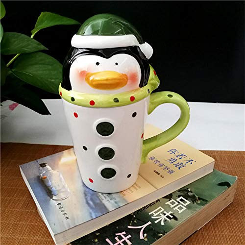 lookmoon Tasse Mugs Tassen Startseite Keramik Cartoon Weihnachten Kind Geschenk kleine Tasse Santa Schneemann Mousse Cup Elch Weihnachten Stiefel Drink Cups-Pinguin