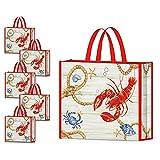 NymphFable 5 Pcs Tote Bag Reutilizables Langosta Bolsas para Comestibles Grande Bolsa Compra