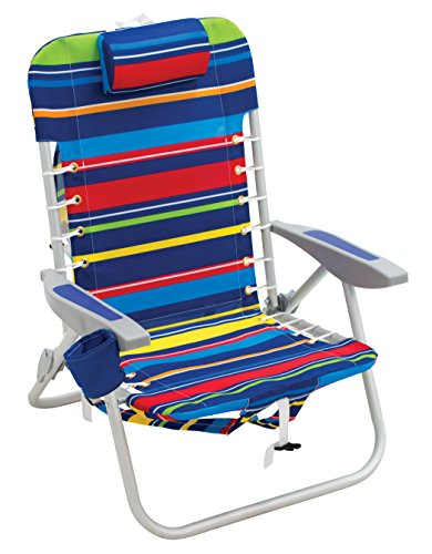 Rio Brands 4-Position Backpack Lace-Up Suspension Folding Beach Chair, Multi Stripe