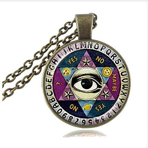 xinzhahi Ouija Board Anhänger Halskette, Illuminati Psychic Palm Reader Spirit Schmuck, Wisdom Eye Pentagramm Halskette
