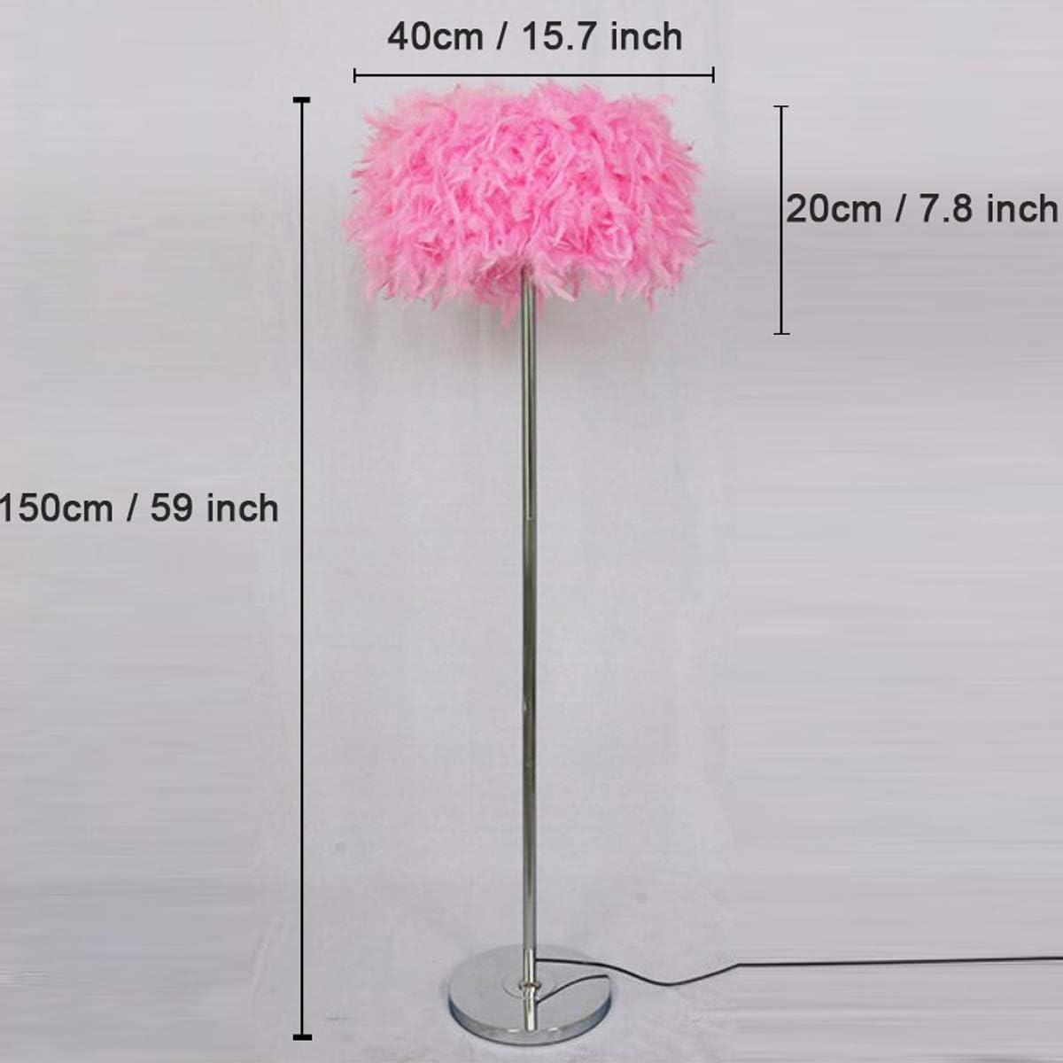 GDLight Plume Lampadaire Plume Romantique Moderne Debout Lampadaire Lampadaire Livre de Chevet pour Salon Chambre E27 (Blanc, Rose, Violet),Blanc Pink