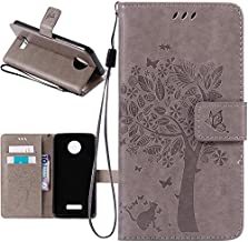 Harryshell Moto Z Force Case, (TM) Caving Tree Kickstand Flip PU Wallet Leather Protective Case Cover with Card Slot & Wrist Strap for Motorola Moto Z Force Droid (Gray)
