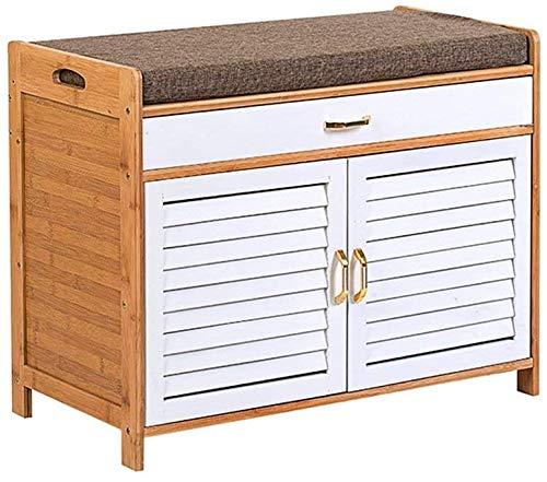 BRFDC Zapatero Nivel 2 Zapato pequeño gabinete con Cubierta de bambú Caja de Zapatos con cajón Zapatero Organizador Puerta del Pasillo Enterway Diseño Que Ahorra Espacio (Color : White)