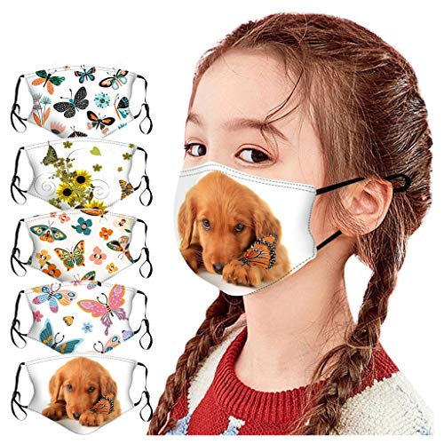 Rosennie 5 Stück Baumwolle Mundschutz Kinder Halloween Lustige Cartoon Wiederverwendbare Gesichtsschutz Abdeckung Waschbar Stoff Atmungsaktive Mundbedeckung für Jungen und Mädchen