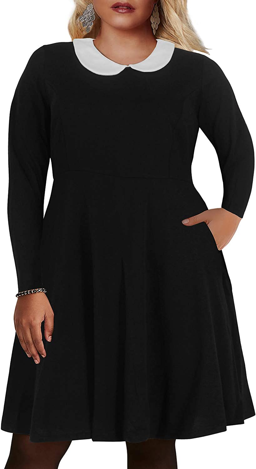 Nemidor Women's Peter Pan Collar Fit and Flare Plus Size Skater Party Dress