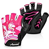 MOVTOTOP Cycling Gloves for Kids, Anti Slip Shock Absorbing Padded Breathable Fingerless Sports Gloves, Sweat-Resistant Thickened Mountain Bike Gloves Suitable for Children Aged 3-8(Pink)