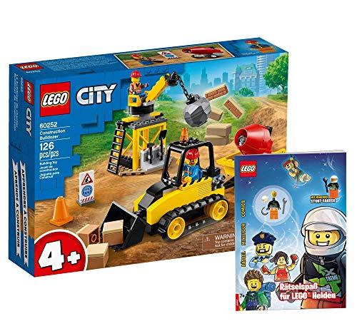 Collectix Lego Set - Lego City Bagger auf der Baustelle 60252 + Rätselspaß für Lego Helden (Softcover)