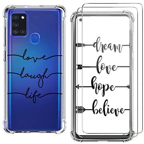 kinnter TPU Silikon Handyhülle Kompatibel mit Samsung Galaxy A21s Hülle Dünn Transparent Schutzhülle mit 2 Pack Galaxy A21s Panzerglas Screen Protector Kratzfeste Schutzfolie