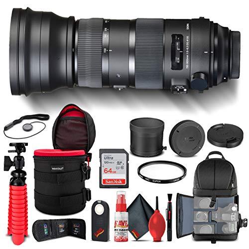 Sigma 150-600mm f/5-6.3 DG OS HSM Sports Lens for Nikon F (740-306) Bundle + Backpack + 64GB Card + Card Reader + UV Filter + Cleaning Set + Flex Tripod + Memory Wallet + IR Remote + Cap Keeper
