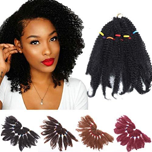 3 Packs 28cm Crochet cheveux Afro Kinky Curly Crochet Braids Extensions de cheveux Synthétique Jerry Curls Marley Braids Crochet cheveux pour les Femmes Noir foncé