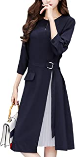 [ニーマンバイ] 七分袖 シフォン プリース 付き Aライン カラーフォーマル ドレス S~3XL