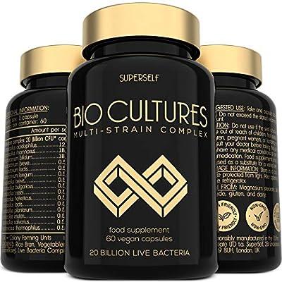 Probiotics Bio Cultures Complex - 20 Billion CFU & 15 Live Strains - 60 Acid-Resistant Capsules - Probiotic Tablets with Acidophilus & Prebiotics Fibre - Vegan Supplements for Adults Women Men