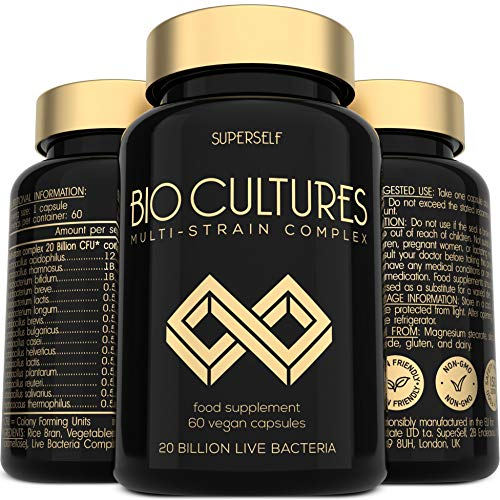 Probiotics Bio Cultures Complex - 20 Billion CFU & 15 Live Strains - 60 Acid-Resistant Capsules - Probiotic Tablets with Acidophilus & Prebiotics Fibre - Vegan Supplements for Adults Women Men